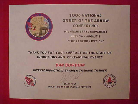 2006 NOAC STAFF CERTIFICATE, INTENSE INDUCTIONS TRAINER TRAINING TRAINER