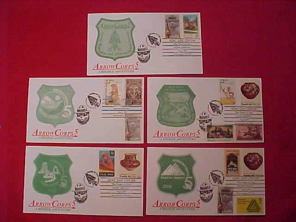 2009 NOAC CACHET SET OF 5 ENVELOPES, ARROWCORPS 5, ALL CANCELLED 8/5/09
