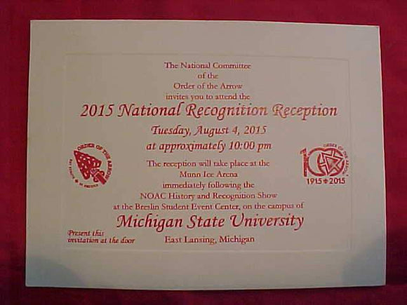 2015 NOAC INVITATION, NATIONAL RECOGNITION RECEPTION