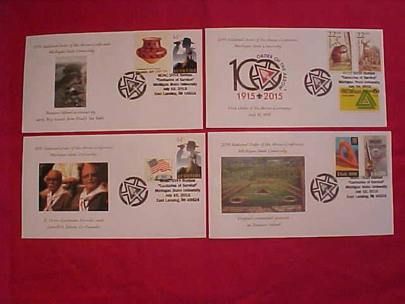 2015 NOAC CACHET, SET OF 4 ENVELOPES, ALL CANCELLED 7/16/15