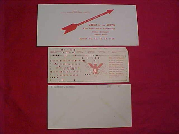 1958 NOAC REGISTRATION ENVELOPE + IBM CARD + LODGE 321 ENVELOPE