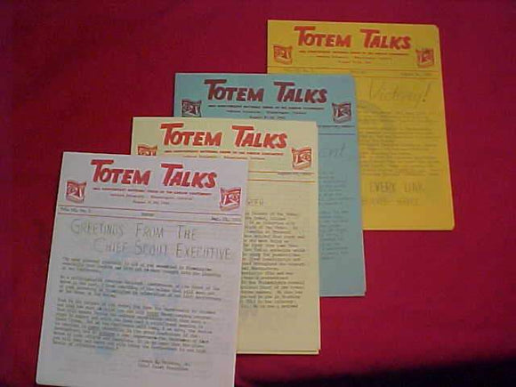 1961 NOAC NEWSLETTERS, TOTEM TALKS, COMPLETE SET OF 4