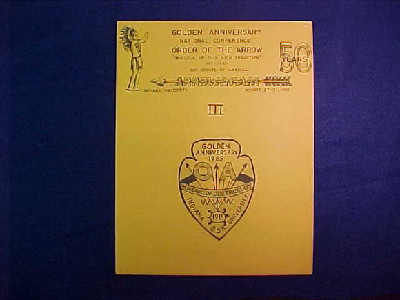 1965 NOAC ARROWGRAM III, 13 PAGES OF REGISTRATION FORMS AND INFO