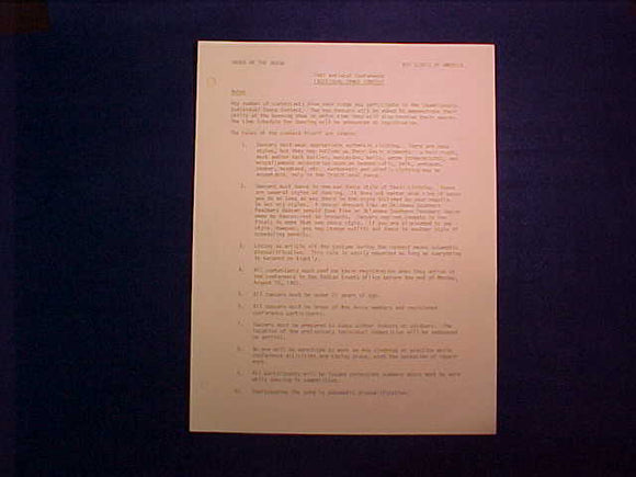 1981 NOAC DANCE TEAM SING, CEREMONIAL TEAM COMPETITION RULES, 4 PAGES