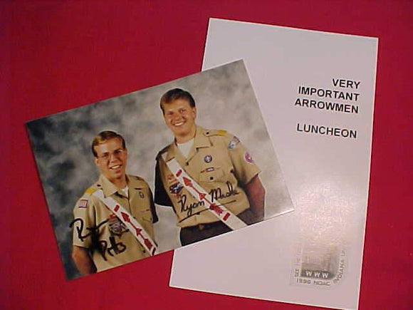 1996 NOAC BULLETIN, VERY IMPORTANT ARROWMEN LUNCHEON W/ AUTOGRAPHED PHOTO OF NAT'L CHIEF & NAT'L VICE-CHIEF