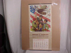"NORMAN ROCKWELL PRINT ""THE NEW SPIRIT"" W/ 1976 CALENDAR ATTACHED, 23X11"""