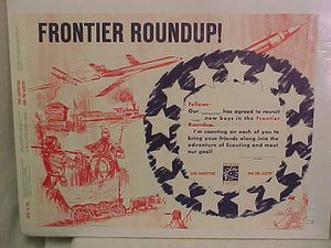 FRONTIER ROUNDUP PROGRESS CHART, 1957, 23X17""