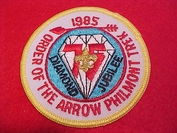 philmont oa trek patch, 1985, diamond jubilee, yellow bdr.