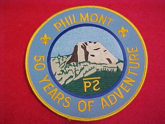 philmont jacket patch, 50 yrs. of adventure, lt. blue twill