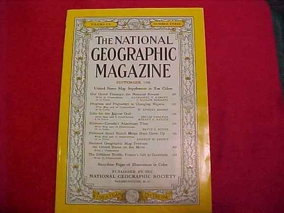 Philmont National Geographic magazine, 1956, 18 page article about Philmont w/ 10 color photos, 3 b/w photos & map
