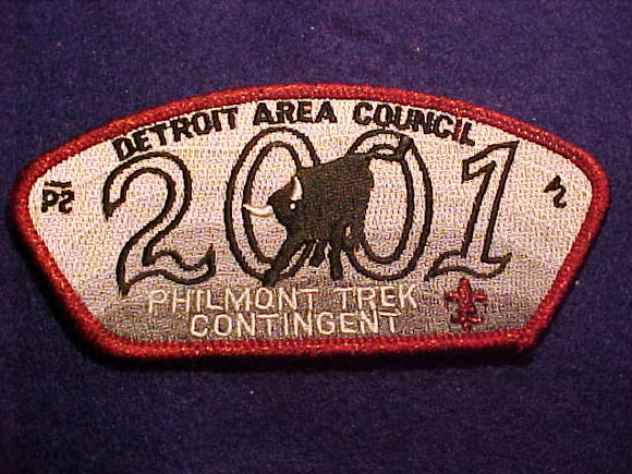 DETROIT AREA C. SA-56, 2001, PHILMONT TREK CONTIGENT, RED MYLAR BDR.