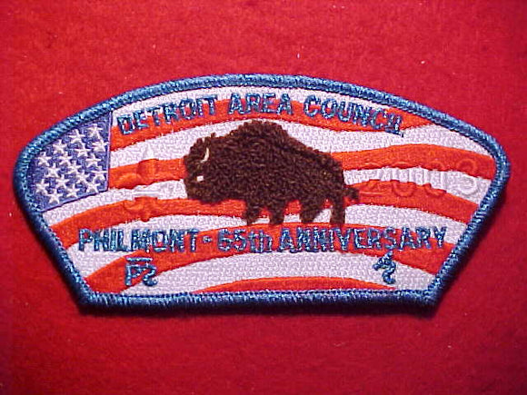 DETROIT AREA C. SA-77, 2003, PHILMONT - 65TH ANNIV., BLUE MYLAR BDR.