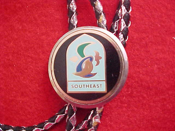 SOUTHEAST REGION BOLO, 1970'S, SILVER/BLACK LEATHER CORD