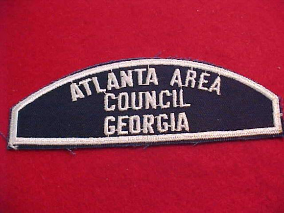 ATLANTA AREA/COUNCIL/GEORGIA, WHITE ON BLUE SEA SCOUT SHOULDER PATCH