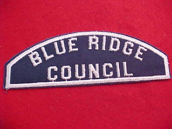 BLUE RIDGE COUNCIL, SEA SCOUT FULL SIZE SHOULDER STRIP, 1 OF 7 KNOWN, NOT ID'D IN 2017 GUIDE BOOK, MINT