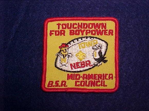NEBRASKA/ UNIVERSITY OF IOWA TOUCHDOWN FOR BOYPOWER, MID-AMERICA COUNCIL PATCH, 1960'S