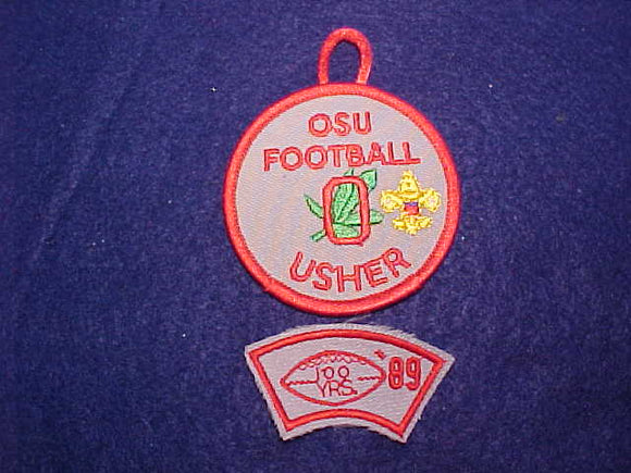 OHIO STATE UNIVERSITY FOOTBALL USHER 1989 SEGMENT+ROUND PATCH