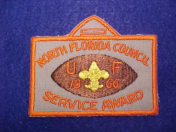 UNIVERSITY OF FLORIDA, NORTH FLORIDA COUNCIL SERVICE AWARD PATCH, 1966