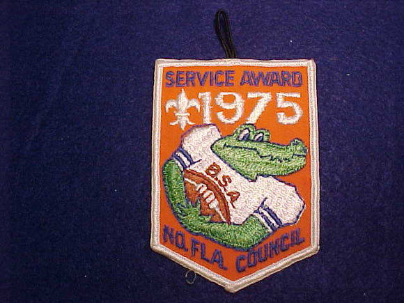 UNIVERSITY OF FLORIDA, NORTH FLORIDA COUNCIL SERVICE AWARD PATCH, 1975