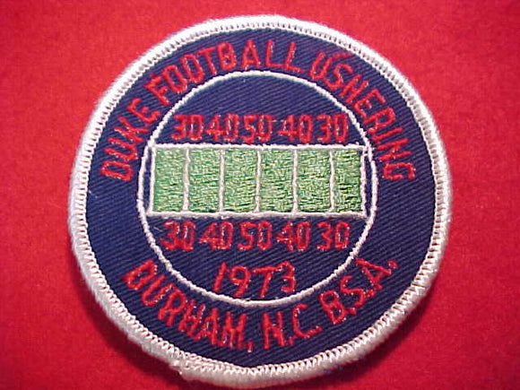 DUKE FOOTBALL PATCH, 1973, USHERING, DURHAM, NC