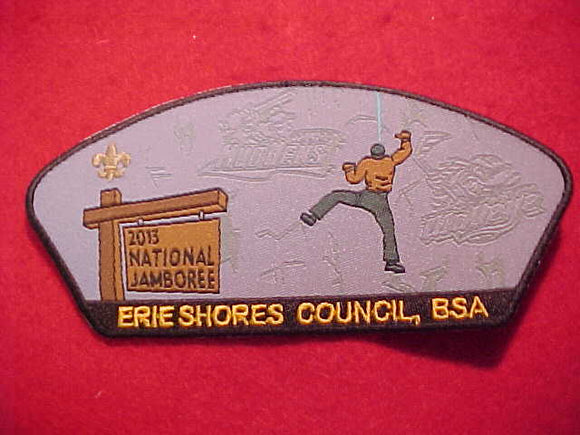 NATIONAL JAMBOREE SHOULDER PATCH, 2013, ERIE SHORES C., TOLEDO MUDHENS BASEBALL/TOLEDO WALLEYE HOCKEY LOGOS GHOSTED IN CLIMBING WALL, WOVEN