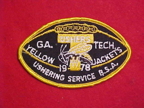 1978 GEORGIA TECH USHERS PATCH, YELLOW JACKETS USHERING SERVICE