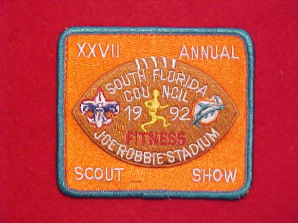 1992 JOE ROBBIE STADIUM SCOUT SHOW PATCH, FLORIDA MARLINS, SOUTH FLORIDA COUNCIL