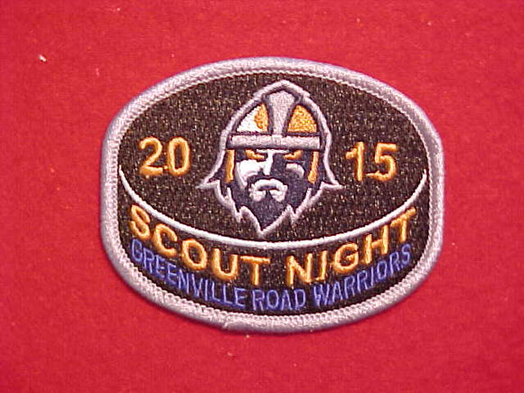 2015 GREENVILLE ROAD WARRIORS SCOUT NIGHT PATCH, THE TEAM EXISTED FROM 2010-2015, THEN BECAME THE GREENVILLE SWAMP RABBITS