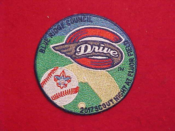 2017 GREENVILLE DRIVE(BASEBALL) SCOUT NIGHT AT FLUOR FIELD PATCH, BLUE RIDGE COUNCIL