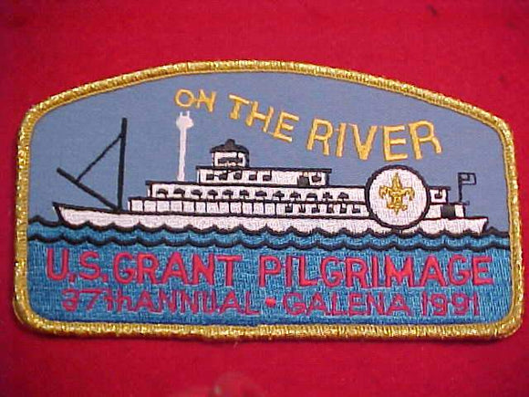U. S. GRANT PILGRIMAGE JACKET PATCH, 1991, 37TH ANNUAL, GMY BDR.