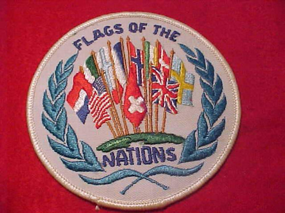FLAGS OF THE NATIONS TRAIL PATCH, WHITE TWILL BKGR.