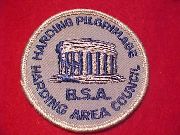 HARDING PILGRIMAGE PATCH, HARDING AREA COUNCIL, LT. BLUE TWILL/WHITE BDR.