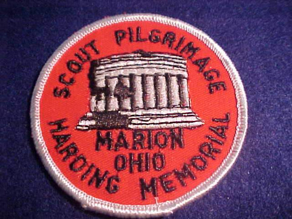 HARDING MEMORIAL SCOUT PILGRIMAGE PATCH, MARION, OHIO, REDDISH ORANGE TWILL/WHITE BDR.