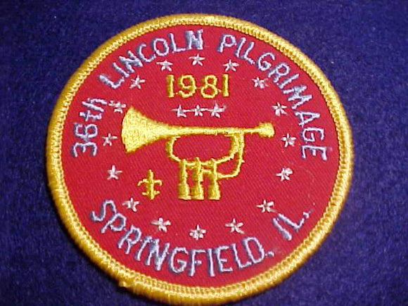 LINCOLN PILGRIMAGE PATCH, 1981, SPRINGFIELD, ILL.