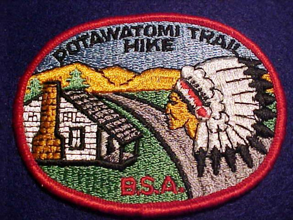 POTAWATOMI TRAIL HIKE PATCH, OVAL SHAPE