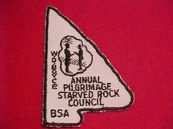W. D. BOYCE ANNUAL PILGRIMAGE PATCH, STARVED ROCK C. WHITE TWILL