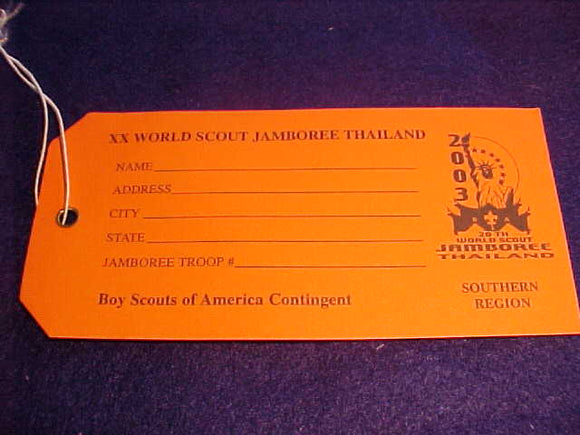 2003 WJ BAGGAGE TAG, BSA SOUTHERN REGION, ORANGE PAPER
