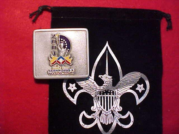 2003 WJ BSA BELT BUCKLE, PEWTER,  IN ORIG. VELVET BAG