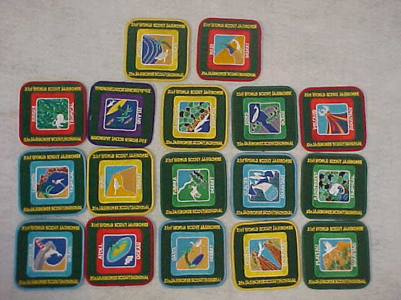 2007 WJ SUBCAMP PATCHES, COMPLETE SET OF 17 DIFFERENT PATCHES