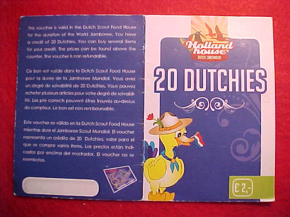 2007 WJ 20 DUTCHIES CARD, HOLLAND HOUSE DUTCH CONTIGENT, (COUPONS FOR FOOD PURCHASE AT DUTCH SCOUT FOOD HOUSE AT WJ)