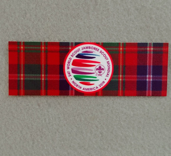 2019 WJ BADGE, SUBLIMATED DESIGN OF WJ LOGO ON TARTAN PLAID, 1.5X4.5