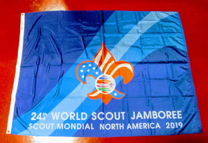 "2019 WJ WORLD JAMBOREE FLAG, NO WORDS ON TOP OF FLAG, 48X68"", MINT"