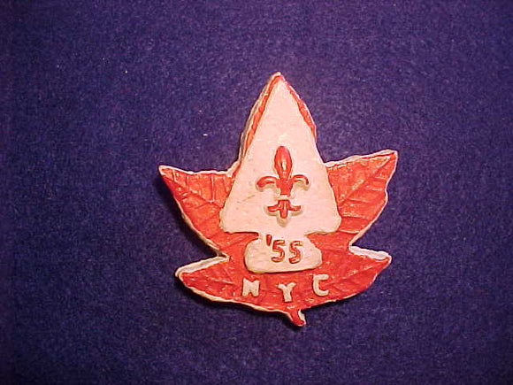 1955 WJ NECKERCHIEF SLIDE, BSA NEW YORK CONTINGENT, CAST PLASTER