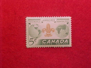 1955 WJ STAMP, CANADA 5 CENT, MINT, UNCANCELLED