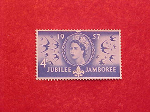 1957 WJ STAMP, UNITED KINGDOM 4 PENCE, MINT, UNCANCELLED, NO GUM