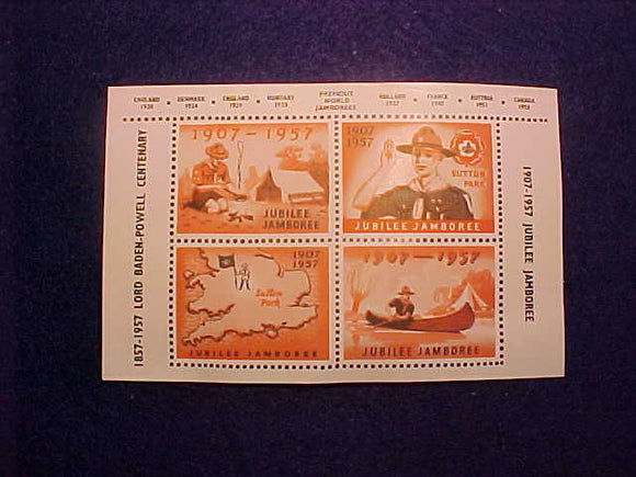 1957 WJ SEALS, MINI SHEET OF 4 UNITED KINGDOM