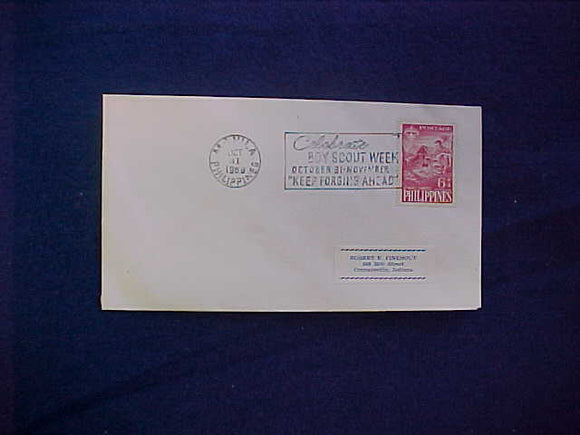 1959 WJ POSTCARD WITH PHILIPPINES WORLD JAMBOREE STAMP CANCELLED 10/31/59, BOY SCOUT WEEK