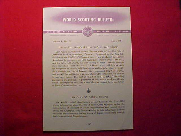 1963 WJ WORLD SCOUTING BULLETIN, MAY 1964, ISSUE OFFERING 16MM OR 35MM MOVIE OF 1963 WJ
