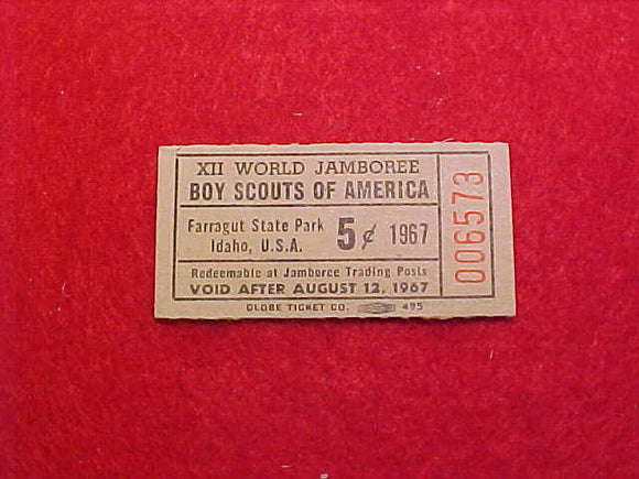 1967 WJ TRADING POST TICKET, 5 CENTS
