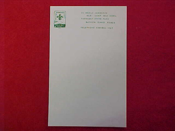 1967 WJ STATIONARY SHEET, BAD ISCHL SUBCAMP, 5.5